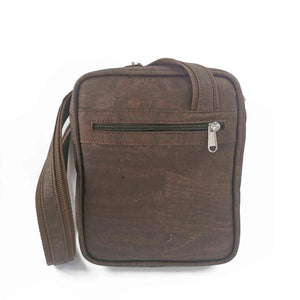 Brown cork fabric messenger bag for men, vegan and eco-friendly, back view