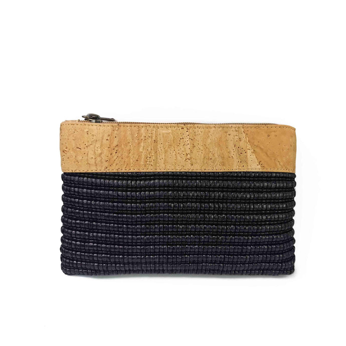 Cork and black eco-friendly fabric purse with zipper