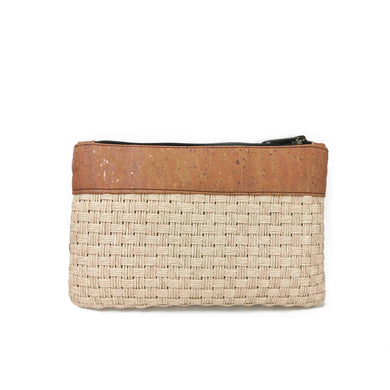 Cork and woven straw fabric purse with zipper