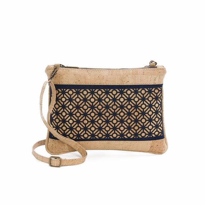 Natural and dark-blue cork fabric cross-body bag with Portuguese tile cut-outs, front view