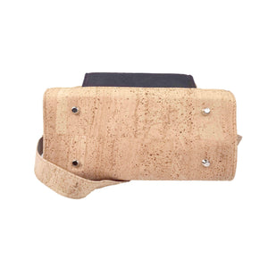 Natural and black cork crossbody bag with removable strap for women, bottom  view