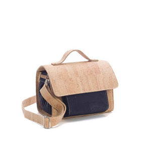Natural and black cork crossbody bag with removable strap for women, side view