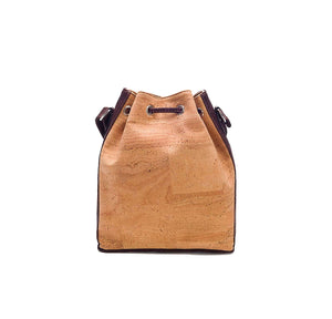 Natural and brown tinted cork fabric bucket bag with drawstring, back view