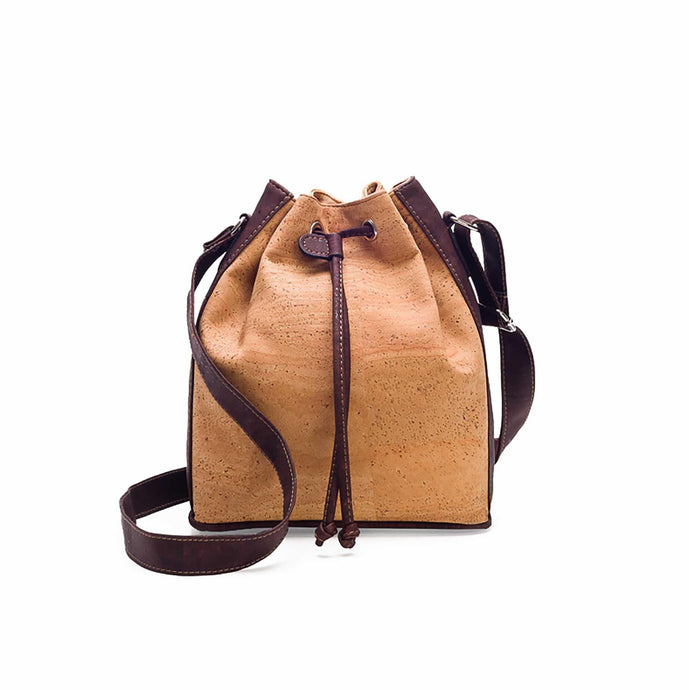 Natural and brown tinted cork fabric bucket bag with drawstring front view
