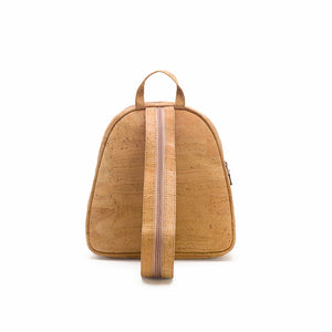 Natural cork fabric backpack back view