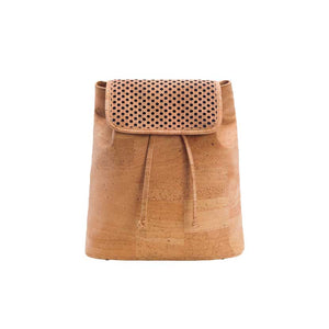 Natural cork backpack for women with drawstring and cut-outs