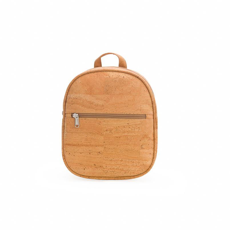 Round natural cork fabric backpack