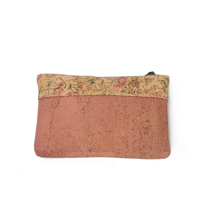 Natural, pink and floral cork fabric purse with zipper and golden streaks, front view