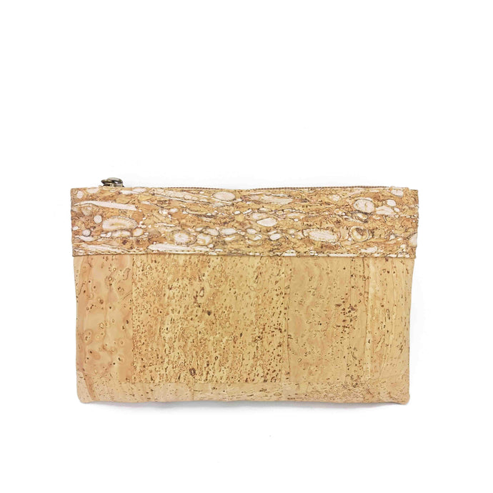 Cork Fabric Purse - Natural, white and gold - front view