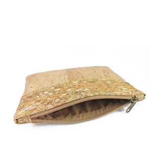 Cork Fabric Purse - Natural, white and gold - open zipper detail