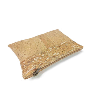 Cork Fabric Purse - Natural, white and gold - side view