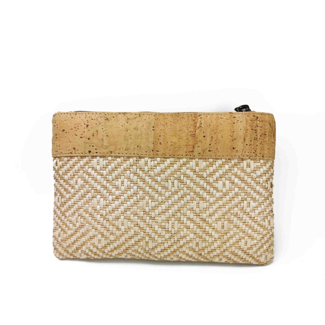 Natural Cork and Raffia Purse with Zipper  - front view