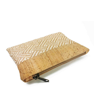 Natural Cork and Raffia Purse with Zipper  - side view
