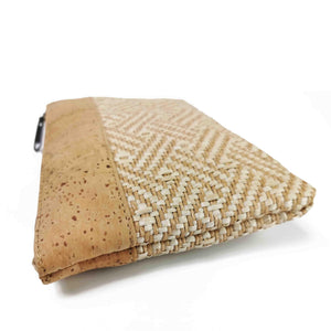 Natural Cork and Raffia Purse with Zipper - side detail