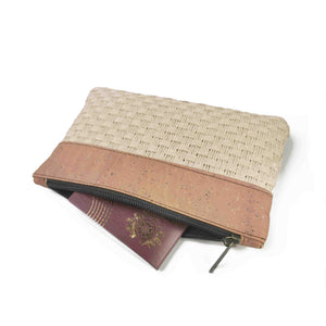 Cork and woven straw fabric purse with zipper, open with passport inside