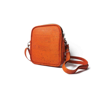 Small orange cork crossbody purse for women