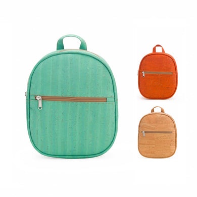Three cork fabric backpacks in orange, water green and natural