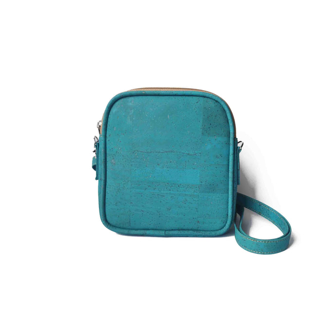 Small turquoise cork crossbody purse for woman