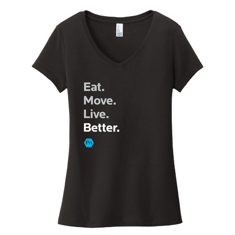 "Women's PN ""Eat. Move. Live Better."" V-Neck Tee"