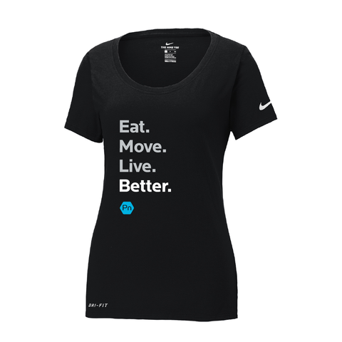 "Women's PN ""Eat. Move. Live Better."" Nike Dri-Fit Scoop Neck Tee"