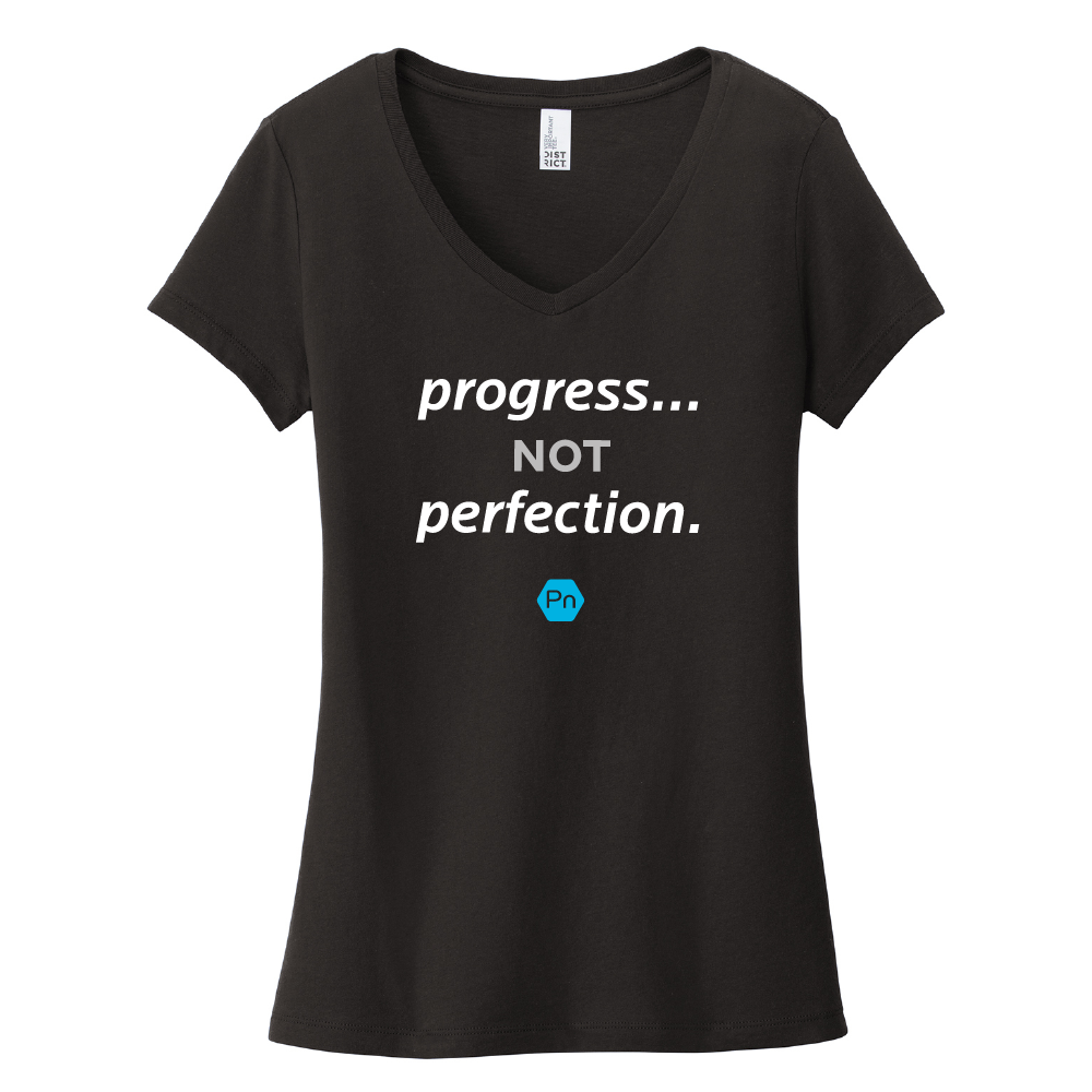 "Women's PN ""Progress not Perfection."" V-Neck Tee"