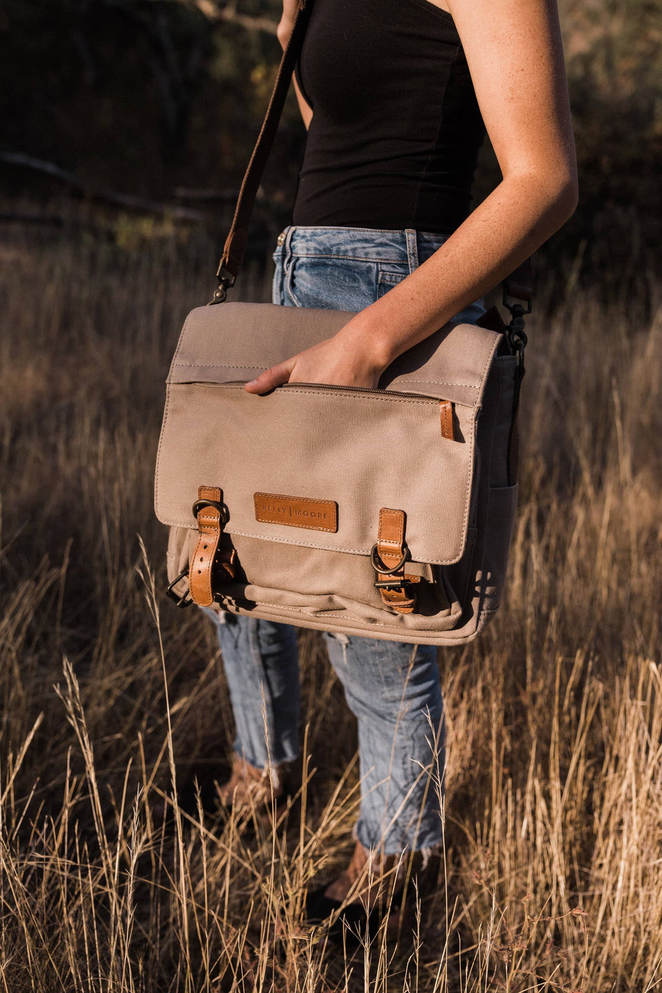 Kate 2.0 - Canvas + Full Grain Leather Messenger (Tan) - Kelly Moore Bag
