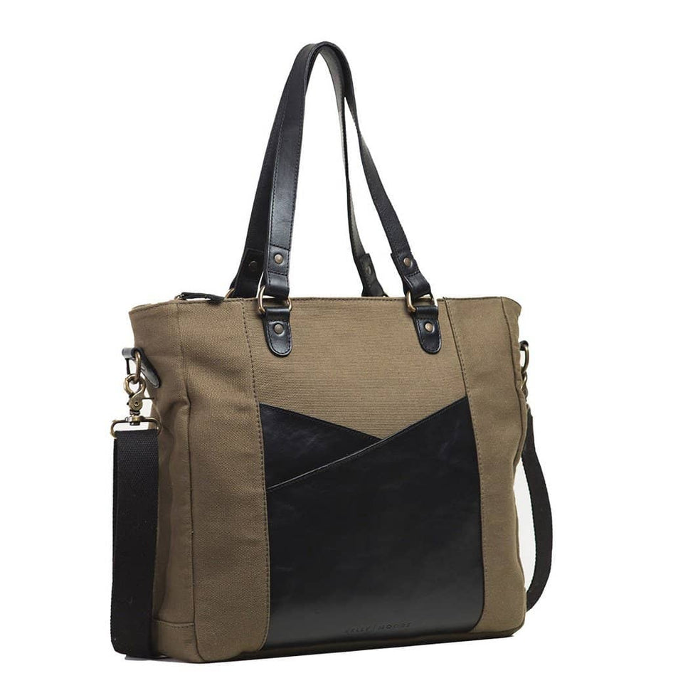 The Anna - Full Grain Leather + Canvas Laptop Tote - Kelly Moore Bag