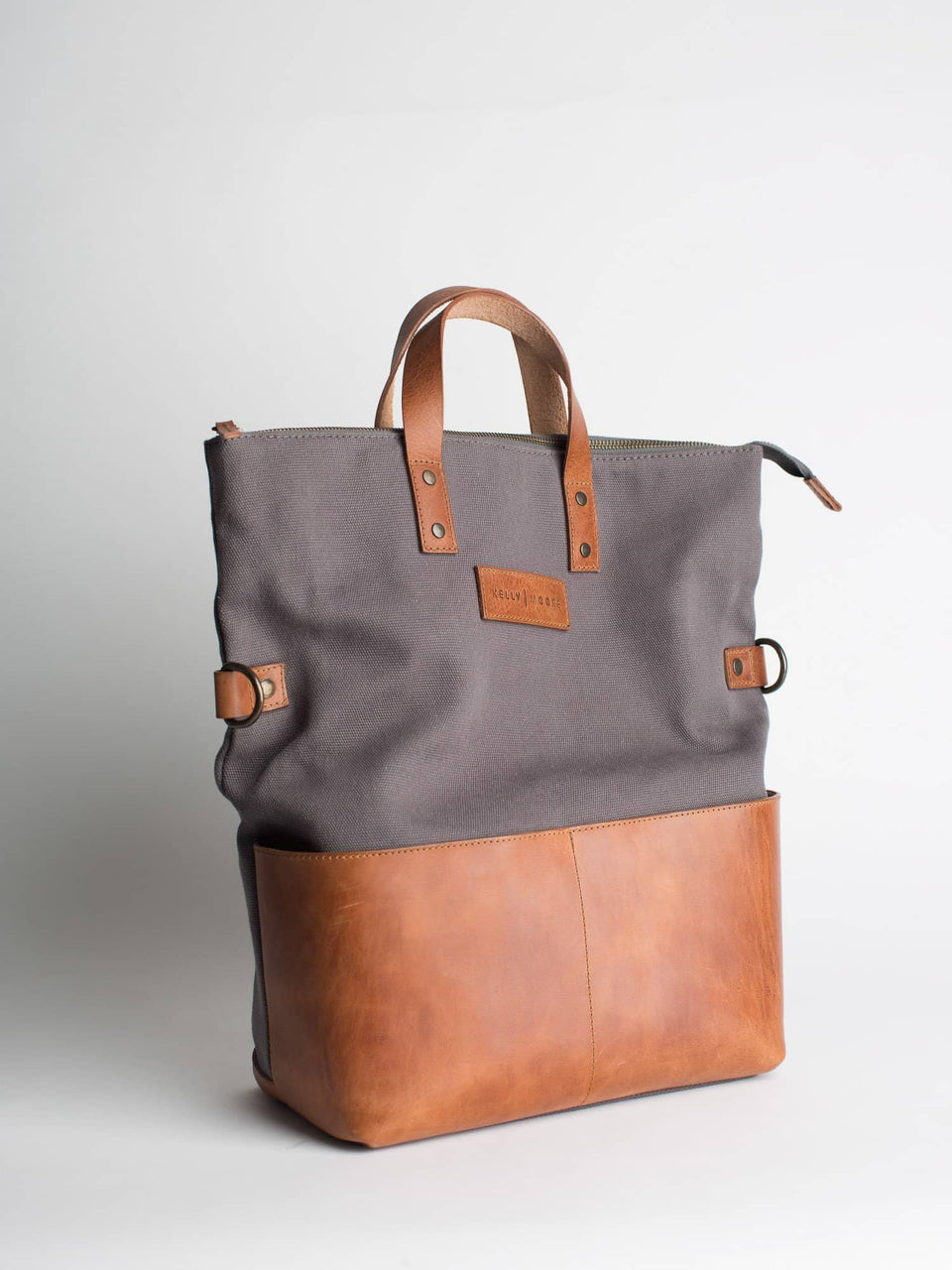 The Collins 2.0 - Canvas + Leather Convertible Tote - Kelly Moore Bag