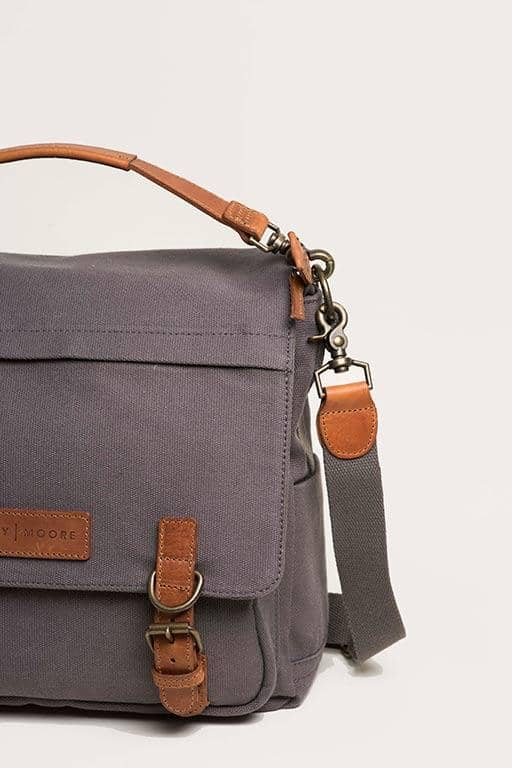 The Kate 2.0 - Canvas + Full Grain Leather Messenger - Kelly Moore Bag