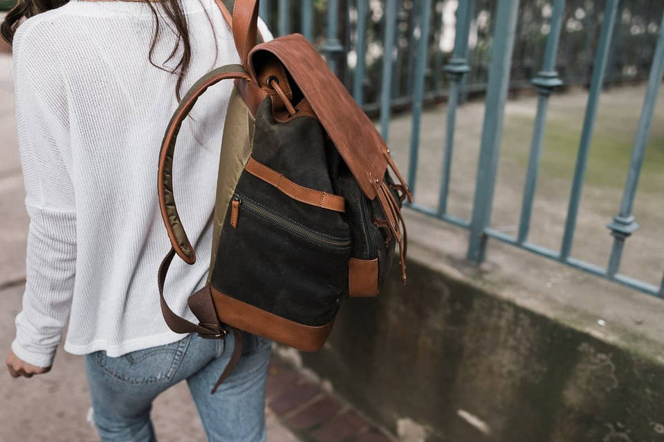 The Pilot 2.0 - Canvas + Full Grain Leather Backpack - Kelly Moore Bag