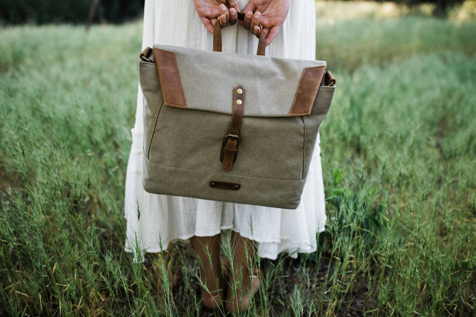 The Pioneer - Canvas + Leather Messenger - Kelly Moore Bag