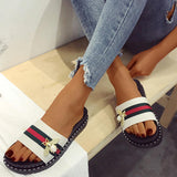 Shoedoes Womens Colorblock Striped Platform Slides Sandals