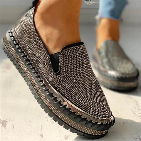 Shoedoes Women Casual Fashion Rhinestone Slip-on Loafers/ Sneakers