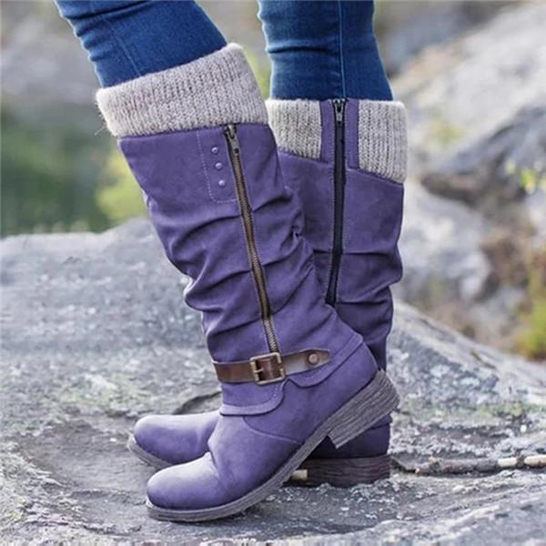 Shoedoes Patchwork Chunky Calf Boots