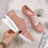 Shoedoes Women Hollow-out Wedge Heel Sneakers