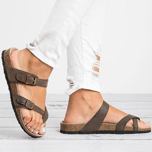 Shoedoes Leather Strap Buckle Flats Sandals