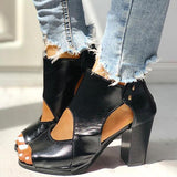 Shoedoes Peep Toe Cutout Rivet Chunky Heel Boots