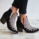 Shoedoes Ankle Booties Color Block Block Heel Slip On Boots