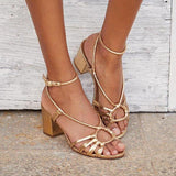 Shoedoes Women Ankle Strap Chunky Heels Sandals