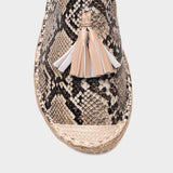 Shoedoes Snakeskin Tassel Date Leather Summer Flat Slippers