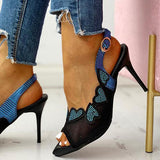Shoedoes Peep Toe Ankle Buckled Mesh Stiletto Heeled Sandals