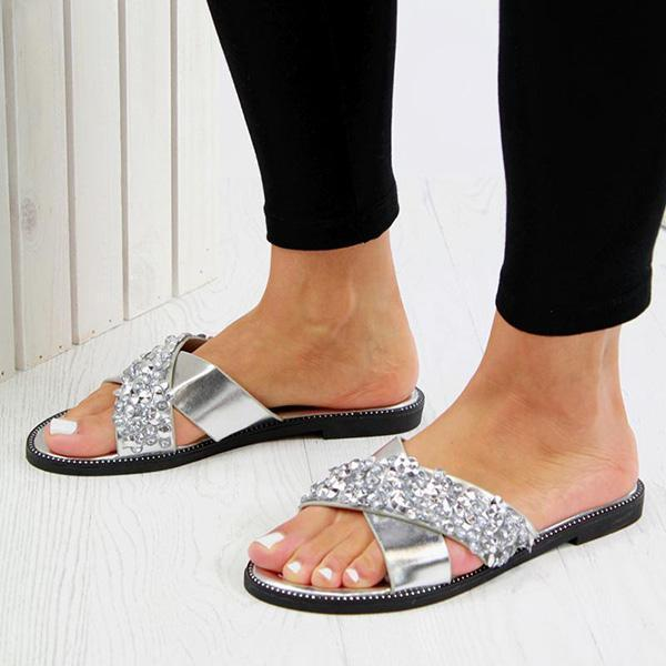 Shoedoes Crystal Embellished Slides Sandals