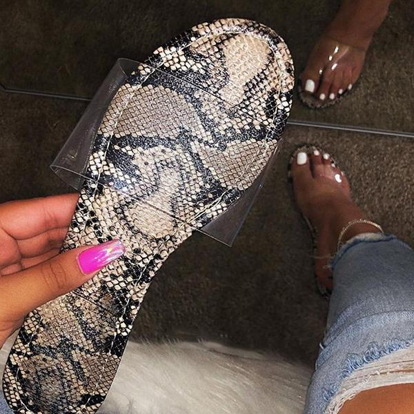Shoedoes Summer Casual Snake Pattern Slippers