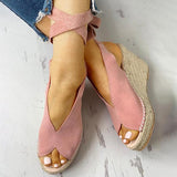 Shoedoes Suede Knotted Ankle Platform Wedge Sandals