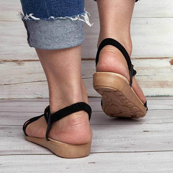 Shoedoes Women Summer Clip Toe Bohemia Flip Flops Flat Sandals