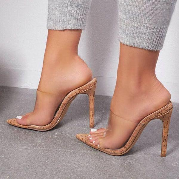 Shoedoes Fashion Clear Backless Stiletto Heels