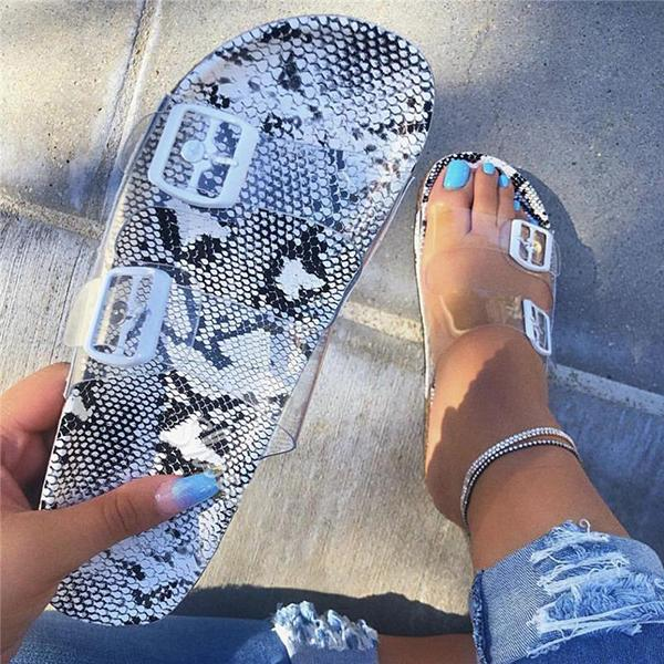Shoedoes Snake Pattern Buckle Clear Flat Sandals