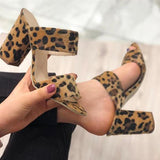 Shoedoes Women Fashion Sexy Leopard Print Slippers Slip On Chunky Heels