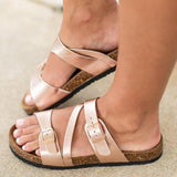 Shoedoes Golden Artificial Leather Buckle Mule Sandals