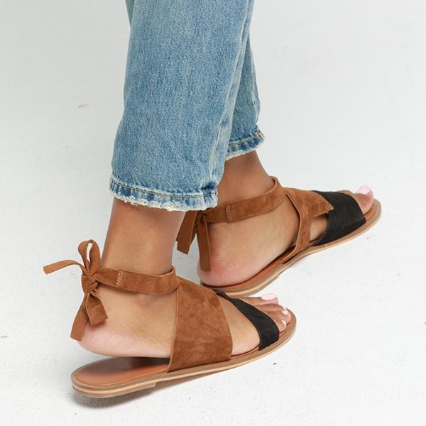 Shoedoes Hollow-Out Flat Heel Daily Suede Flat Sandals